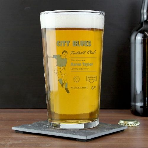 Personalised Vintage Sky Blue's Football Supporter's Pint Glass